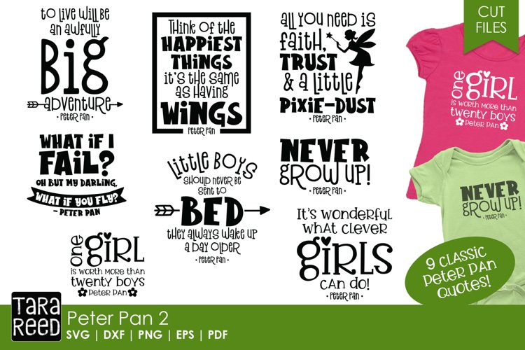 Peter Pan Quotes - SVG and Cut Files for Crafters example image 1