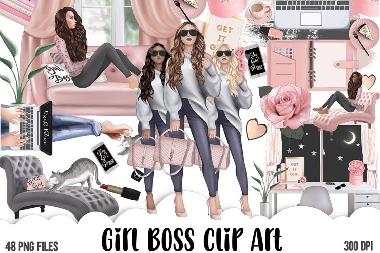 Girl Boss Clipart - Planner Fashion Clipart - Business Woman example image 1