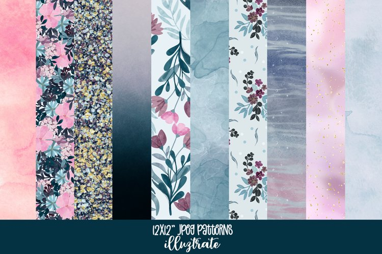 Floral Patterns and textured Digital Paper   Navy & Pink