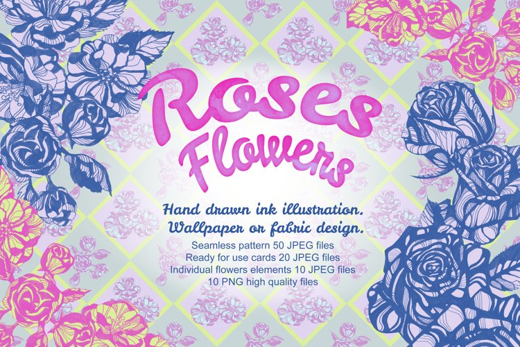 Roses flowers Hand drawn ink illustration example image 1