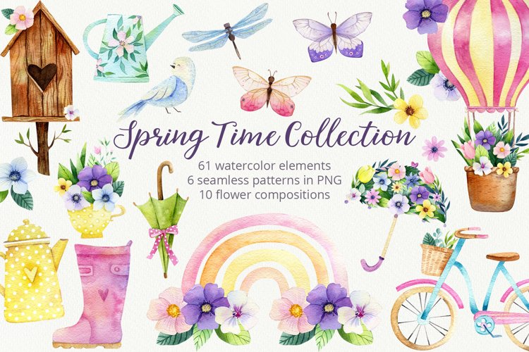 Spring Time Watercolor Set. Spring Patterns & Compositions