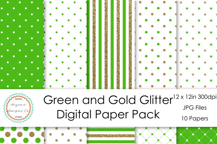 Green and Gold Glitter Digital Paper Pack example image 1