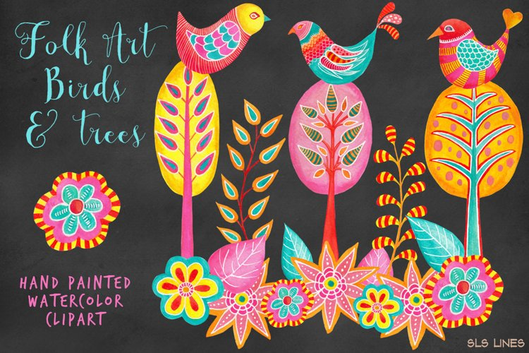 Folk Art Birds & Trees Watercolor Clipart example image 1