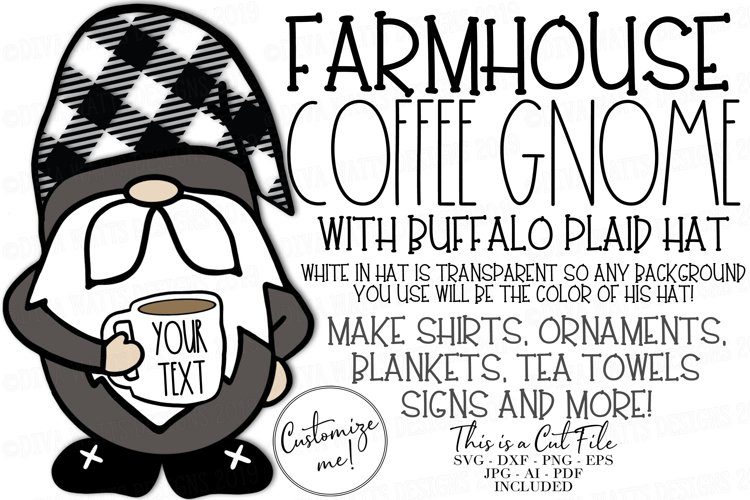 Farmhouse Coffee Gnome with Buffalo Check Hat Cut File SVG