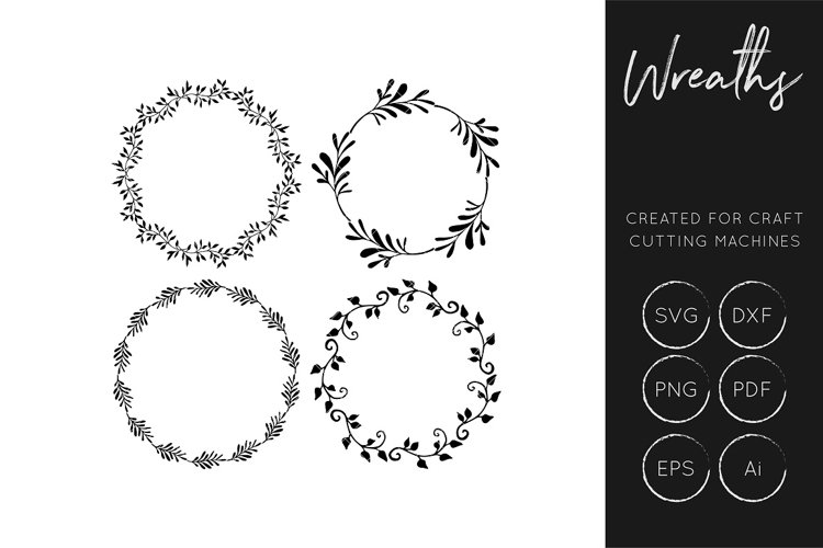 Wreath SVG - Cut files for crafters - SVG / DXF /Ai / EPS/  - Free Design of The Week Font
