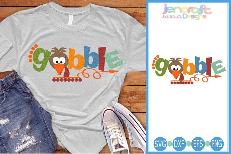 Turkey SVG- Gobble Thanksgiving word art SVG Cut File image