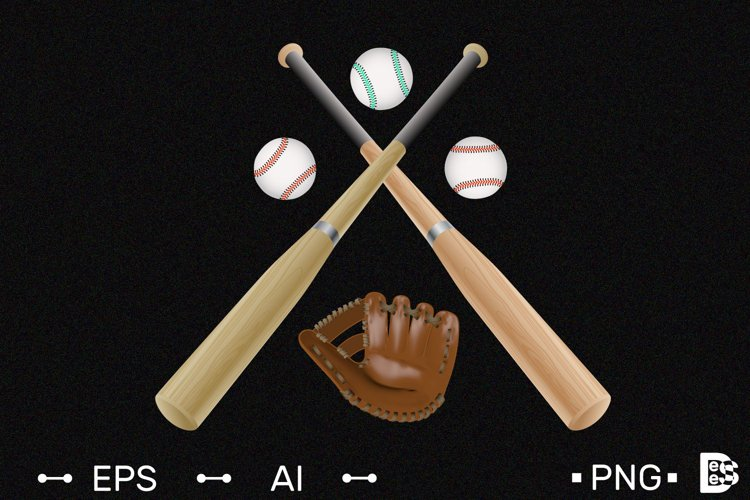 Baseball logo template. Realistic Vector illustration. example image 1