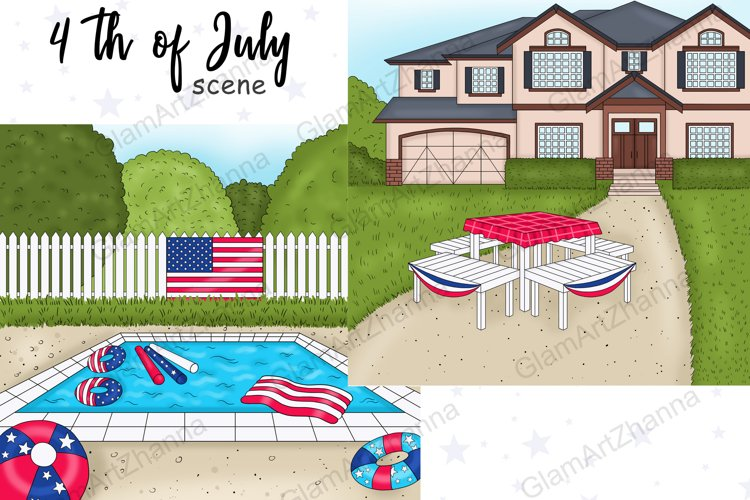 4th of July SCENE Independence Day Stickers - PNG files example image 1