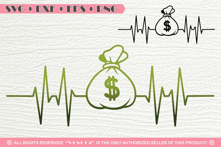 Money Bag| EKG | Hearbeat | SVG DXF PNG EPS Cutting File example image 1