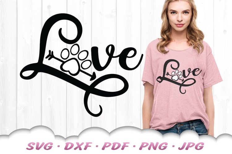 Love Paw Print SVG DXF Cut Files example image 1