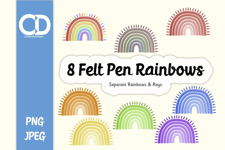 8 Felt Tip style Rainbows with Rays example image 1