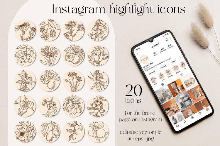 Instagram highlight 20 florals icons set