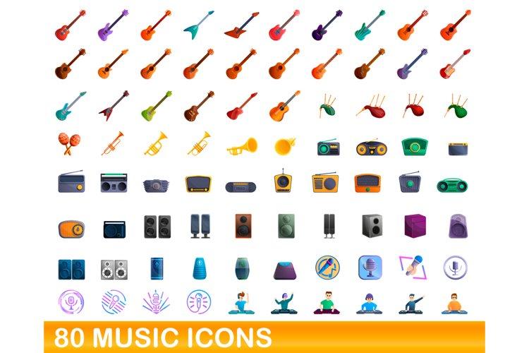 80 music icons set, cartoon style example image 1