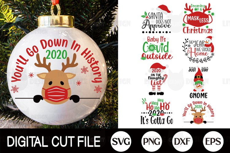 Christmas Ornament SVG Bundle, 2020 Covid DXF, Arabesque PNG example image 1
