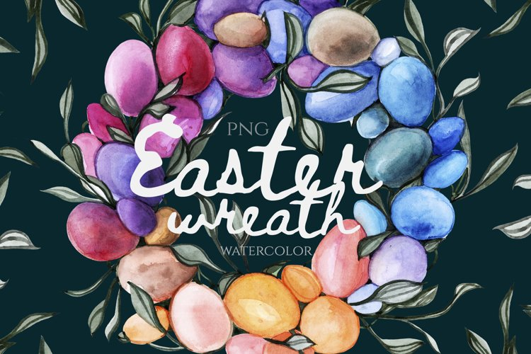 Watercolor Wreath with eggs and leaves Clip Art Happy Easter