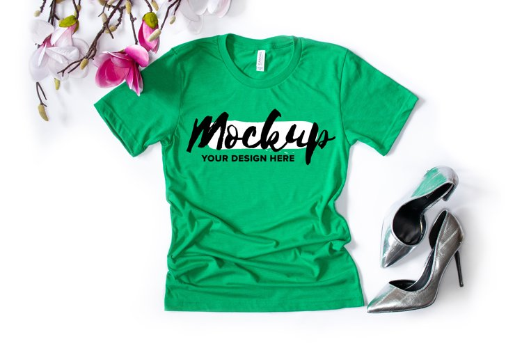 Bella Canvas 3001 Heather Kelly Flat Lay T-shirt Mockup example image 1