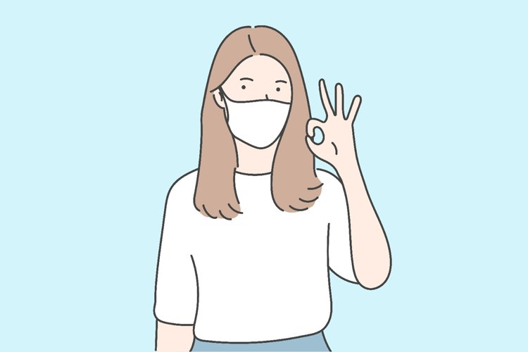 Young girl wearing medical face mask gesturing ok sign example image 1