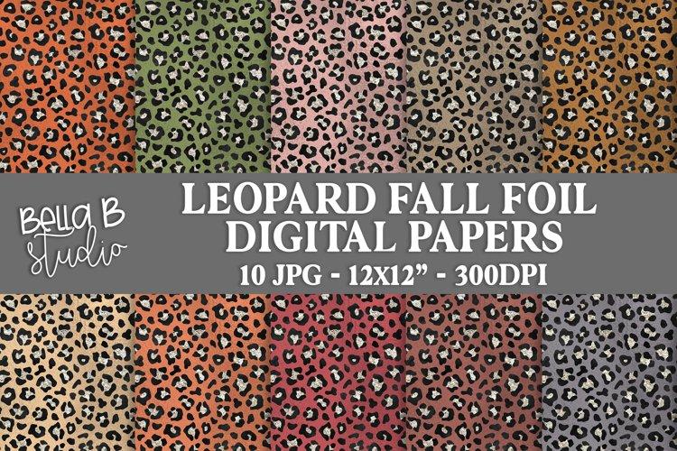 Leopard Fall Foil Digital Papers, Fall Digital Paper Pack
