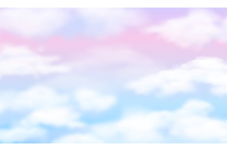 Fantasy sky. White clouds on magic rainbow background. Fairy example image 1