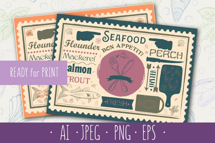 Seafood Placemat for Restaurant, Bar, Pub and Cafe. example image 1