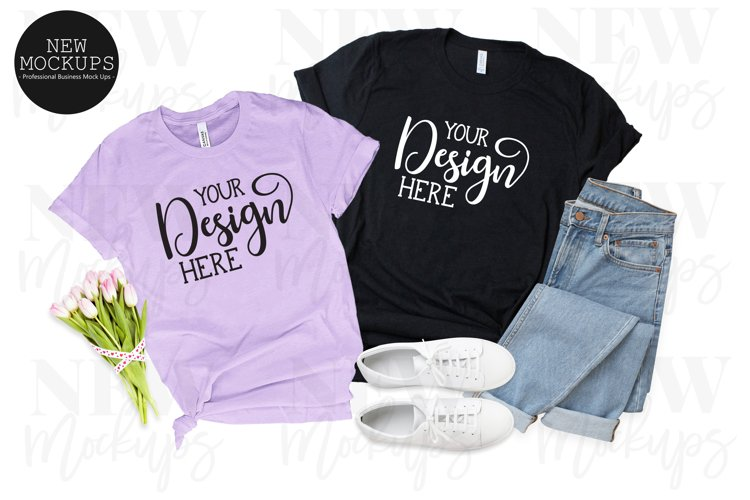 Bella Canvas 3001 Couples T-Shirt Mockup example image 1