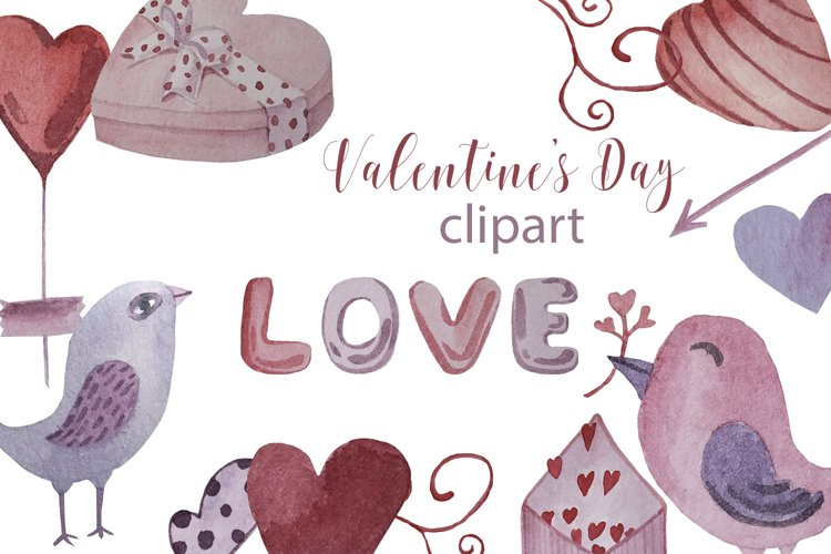 Watercolor set, patterns and tags for Valentine's Day. example image 1