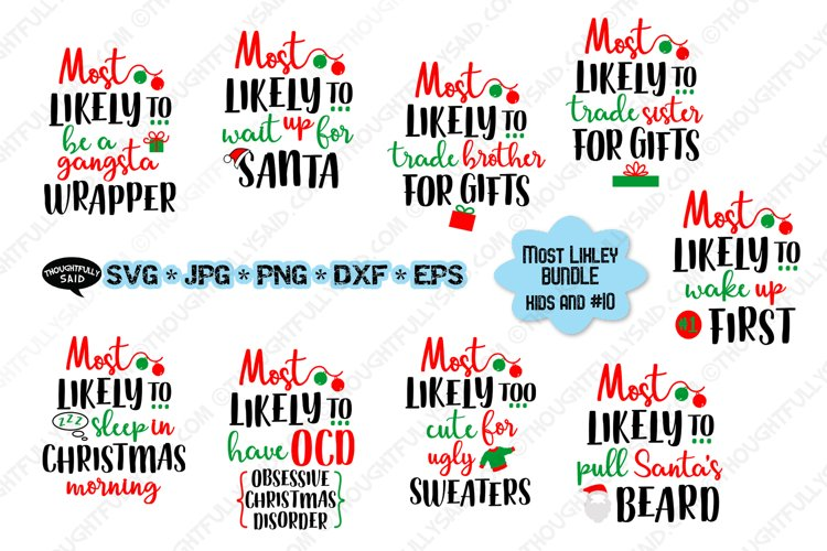 Funny Most Likely Christmas, Kids & #10, SVG JPG PNG EPS DXF example image 1