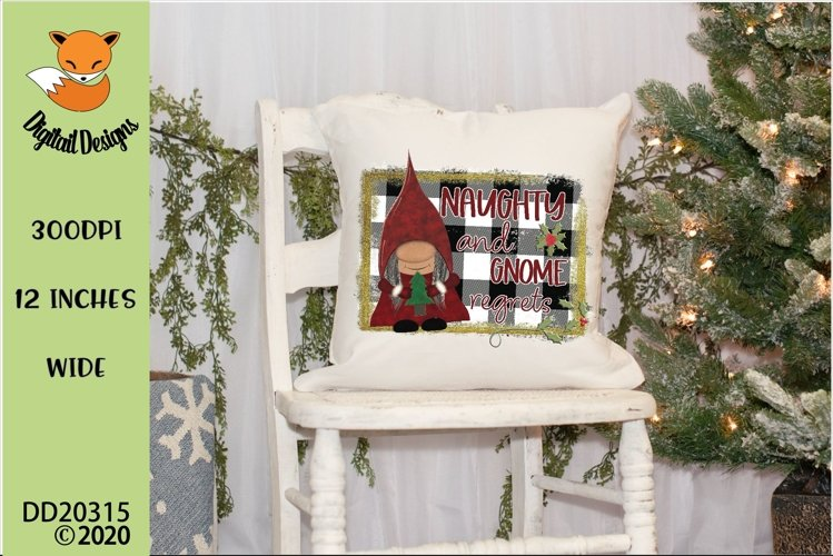 Christmas Naughty And Gnome Regrets Plaid Sublimation example image 1