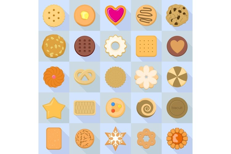 Biscuit icon set, flat style example image 1
