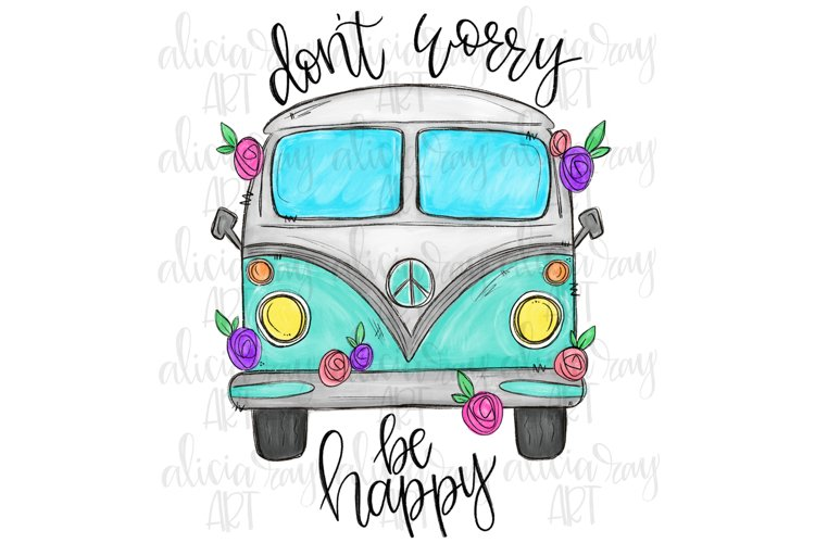 Don't Worry Be Happy Van Sublimation PNG Digital Download example image 1