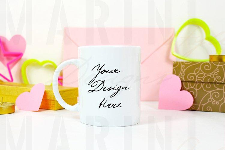 Valentines day mug mockup, White 11oz mug mockup, 1171