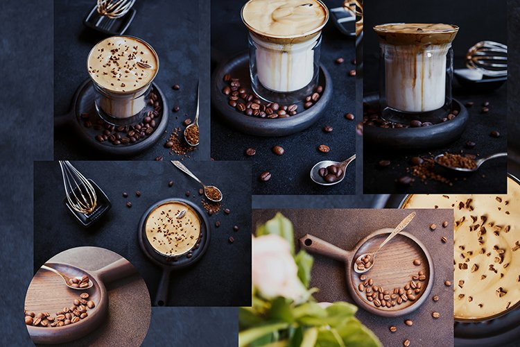 Dalgona Coffee, a trendy cool fluffy creamy whipped coffee. example image 1