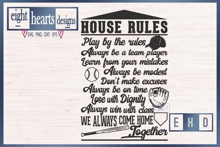 House Rules Baseball - SVG DXF PNG Cut File