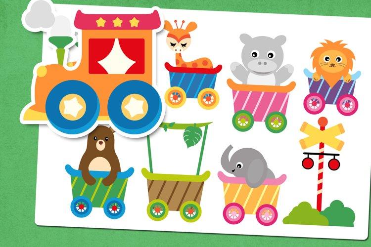 Animals train illustrations clip art