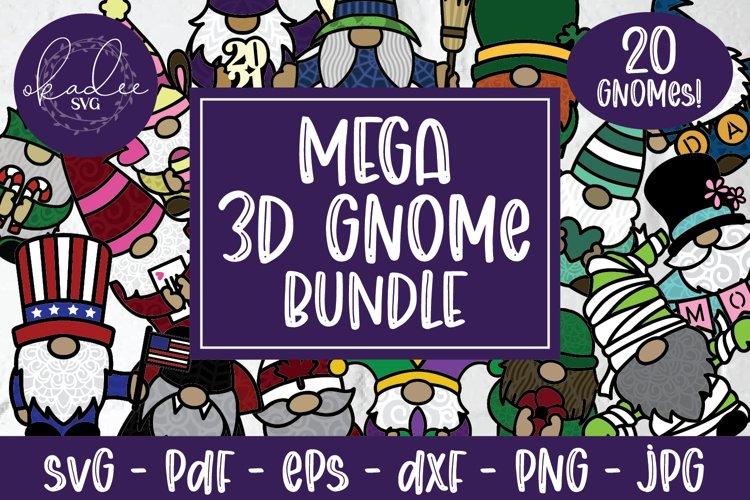 Mega 3D Gnome Bundle, Papercut Gnome SVG, Layered Gnome DXF