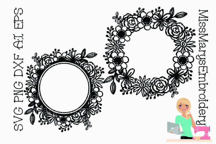 Flower Monogram Wreath SVG | Flower Monogram SVG |Spring SVG