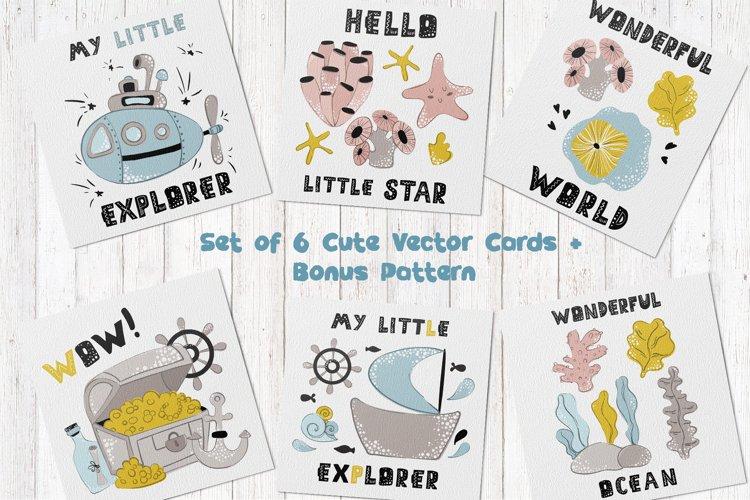 Cartoon Sea Animals - vector cards 02 example image 1