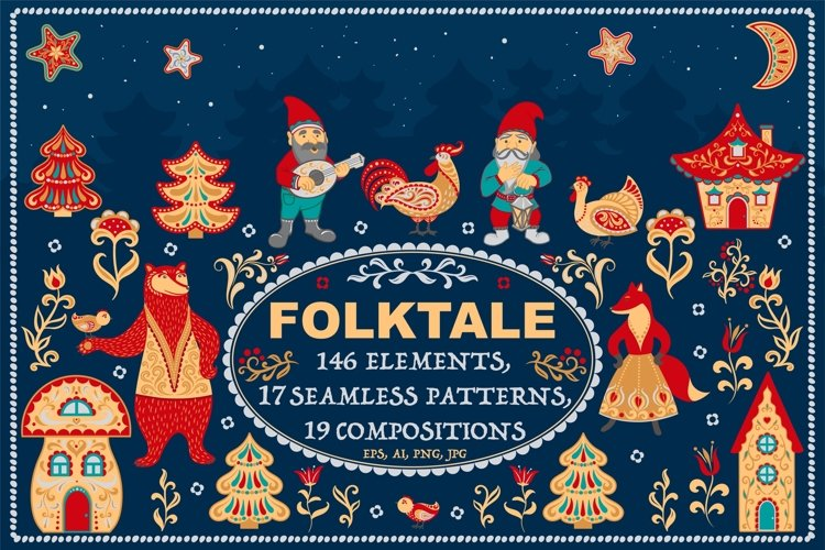 FOLKTALE Vector Set of Illustrations and Patterns