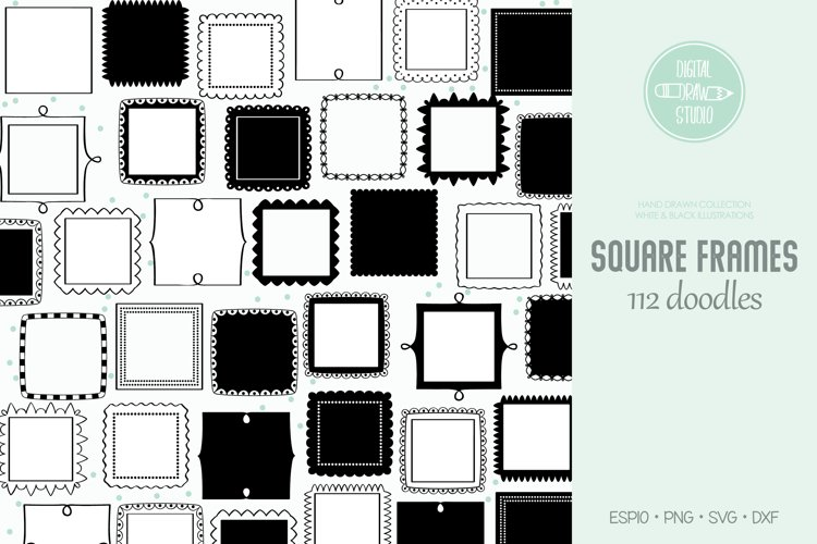 Square Frames | Hand Drawn Border & Decorative Label example image 1