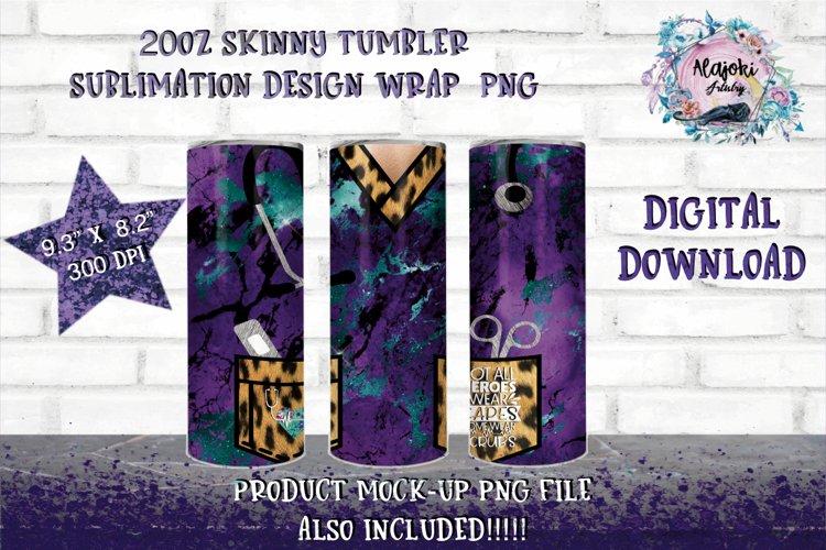Full Wrap Nurse 20oz Skinny Tumbler Sublimation Design