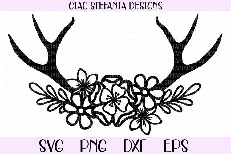 Flower Antlers Wedding SVG Cut File example image 1