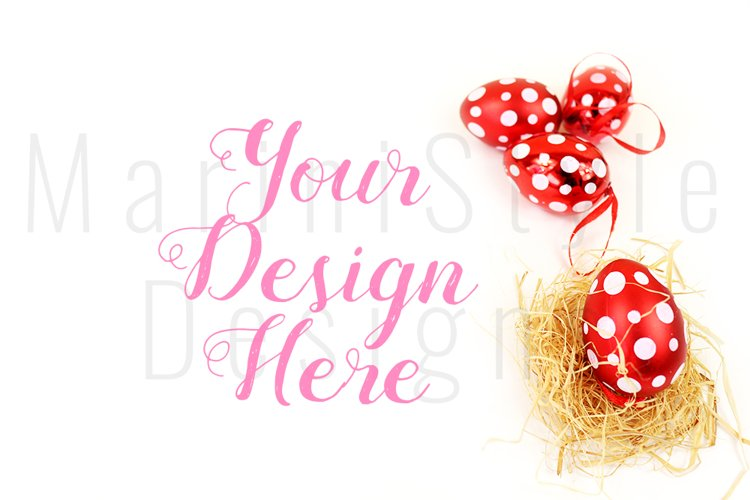 Spring Easter Mockup, White Background with Easter eggs 455