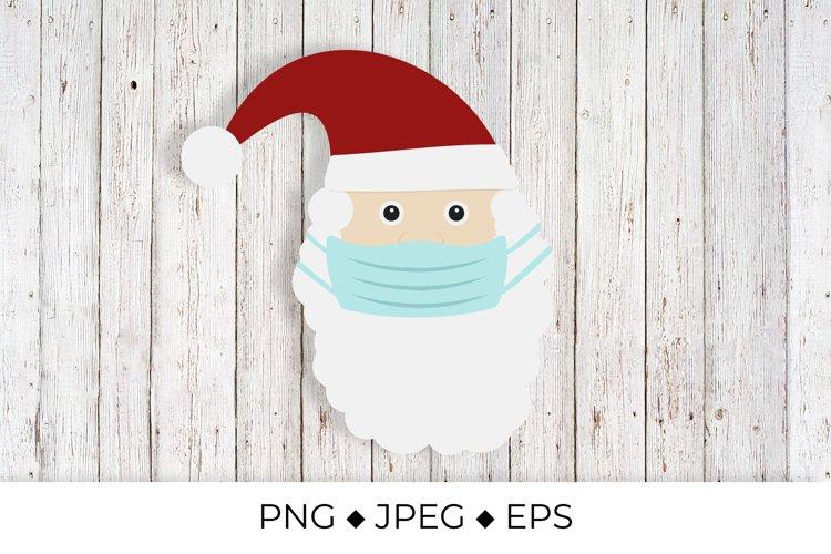 Santa Claus wearing protective face mask. Covid Christmas example image 1
