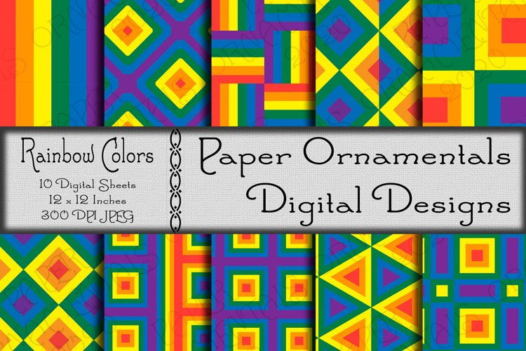 Rainbow Gay Pride Digital Paper For Crafts & Background
