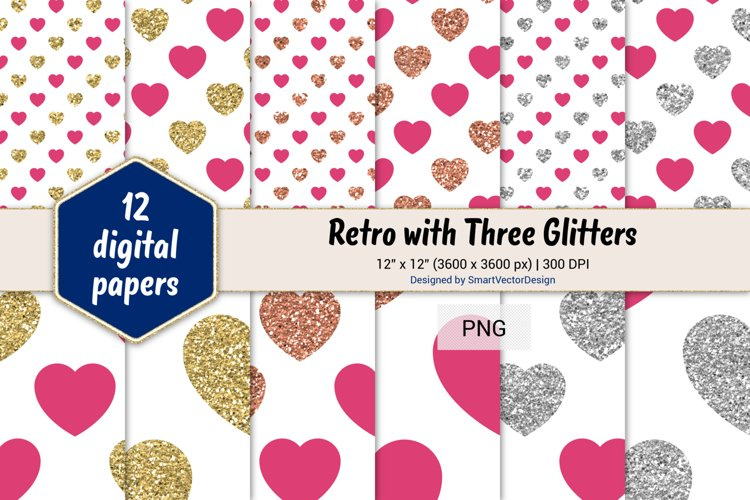 Hearts Retro with Three Glitters Color Combo #16 example image 1