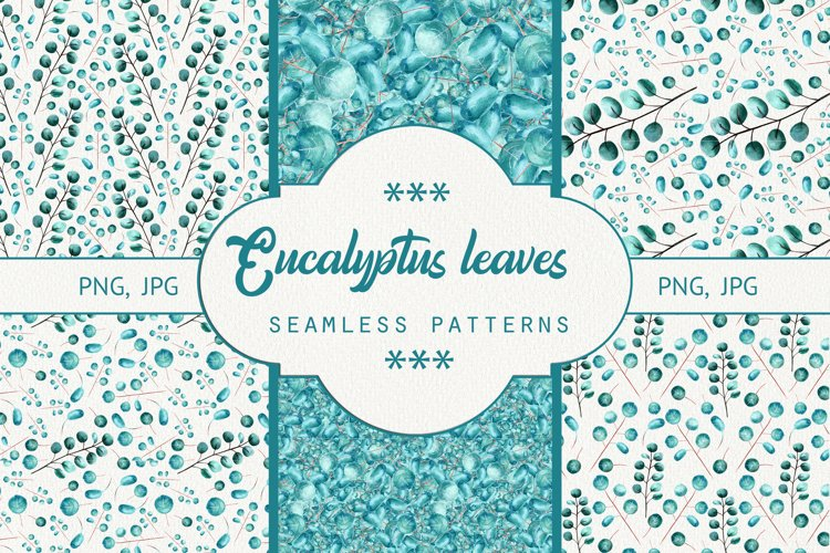 Seamless patterns eucalyptus leaves. Watercolor example image 1