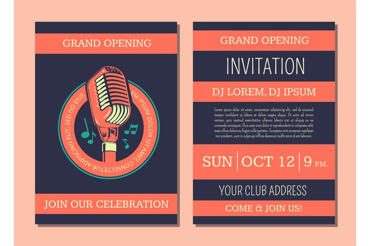 Vector invitation card template for karaoke music club example image 1