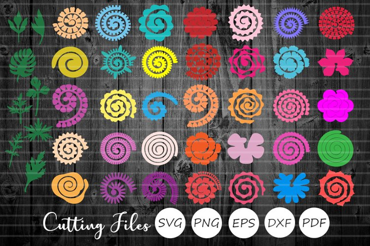 Rolled Paper Flowers Bundle | Svg Cut Files | Origami | example image 1