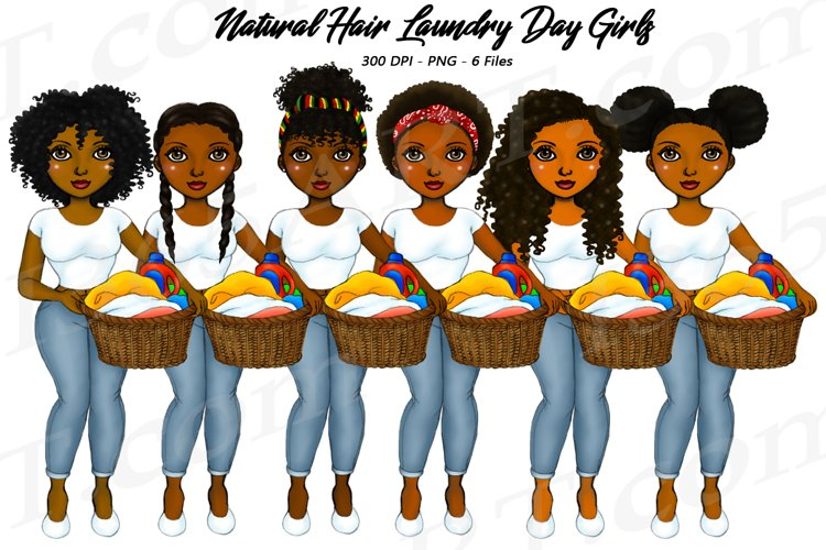 Laundry Day Girls Chores Clipart, African, Natural Hair PNG