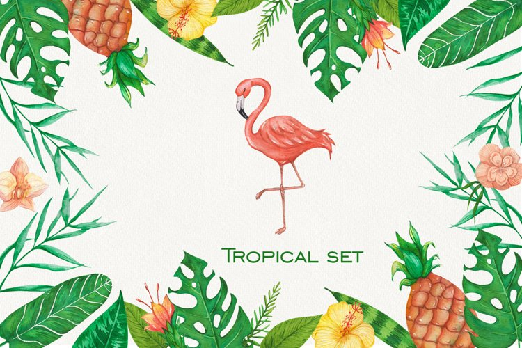Tropical set of watercolor elements with flamingo